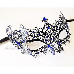 New Gorgeous Princess Black Metal Lace Masquerade Mask with Royal Blue Diamonds…