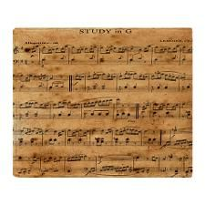 Vintage Classical Sheet Music Throw Blanket