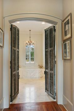 Shuttered doors leading to Master Bath. our master bath has double doors like this, they would be even prettier if they were shutters. Shutter Doors, Beautiful Bathrooms, Double Doors, My Dream Home, Shutters, Interior And Exterior, Exterior Paint, Exterior Design, Home Projects