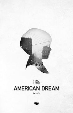 """I really like how clean and simple this poster looks. I like the typography for """"American Dream"""" and I like the idea of having a picture within a cutout just like these buildings are within the cutout of this child's head.:"""