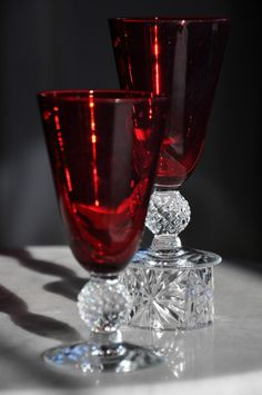 Chanderliers Elegant Depression Glass | ... Juice Tumblers Spanish Red Footed Elegant from lennyfran on Ruby Lane