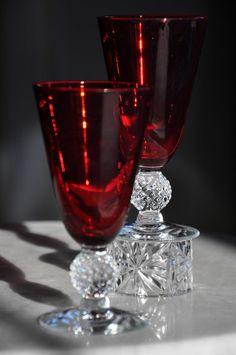 Chanderliers Elegant Depression Glass | ... Juice Tumblers Spanish Red Footed Elegant