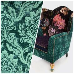 NEW Queen Isabella Designer Damask Burnout Chenille Velvet Fabric Jade Green - BY THE YARD (CUT CONTINUOUSLY)