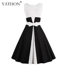 YATHON Audrey Hepburn 60s Vestidos Womens Dress Plus Size S 4XL Vintage Bow  O Neck Casual Office Work Retro A line Party Dresses-in Dresses from  Women s ... 44def2b2f703