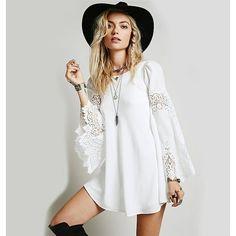 Boho Chic Dress Bohemian Flare Sleeve Lace Patchwork Dress Date Dress... ($60) ❤ liked on Polyvore featuring dresses, lacy white dress, white dress, flared sleeve dress, patchwork dress and boho dresses
