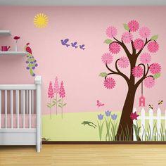 Flower Garden Wall Mural Stencil Kit Baby or Girls Room