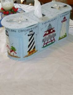 1000 images about lighthouse nautical plastic canvas on pinterest lighthouses tissue box - Beach themed tissue box cover ...