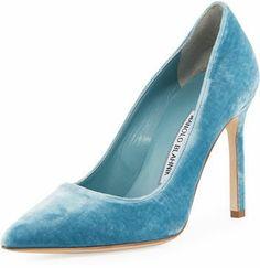 ffa431595 Manolo Blahnik BB Velvet Point-Toe Pump Blue Manolos at Neiman Marcus