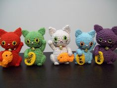 maneki neko group - lucky cat crochet by Megan Heikkinen.