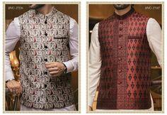 df9afa4110 Buy Pakistani Men Waistcoat in Dark Colors with Jamawar Clothes Online at  Nameera by Farooq,