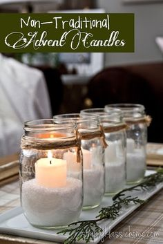 Non Traditional Advent Candles | YellowBlissRoad.com Advent Candles, Mason Jar Candles, Christmas Candles, Beeswax Candles, Pillar Candles, Beautiful Candles, Best Candles, Modern Christmas, Christmas Diy