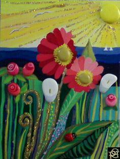 Sole, mare e fiori- Painted Stones di Rosaria Gagliardi