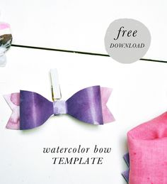 Today's free download is adorable and can be used for so many different things. We used the watercolor paper bow as napkin ring holders for our dip dyed napkins and then added a clothespin to the back to use it as decor. Just click here to download the template and follow the instructions!