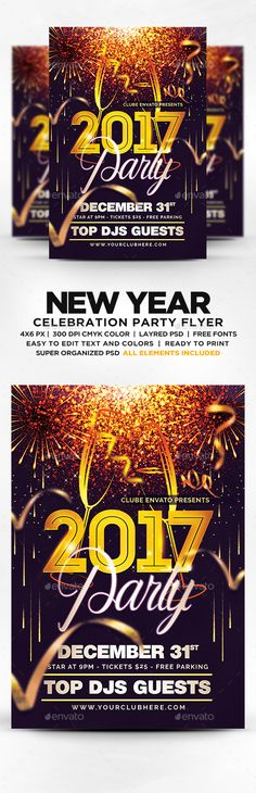 New Year Party Flyer PSD #birthday #4x6 • Download ➝ https://graphicriver.net/item/new-year-party-flyer-psd/17921073?ref=pxcr