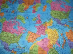 Globe World Map 100% Cotton Fabric Material  Sold by HALF METRE  W 55