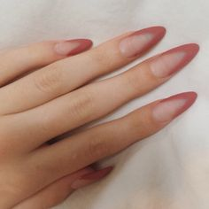 Almond shaped nails with matte dusty rose tips