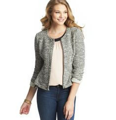 I'm over the top in love with this look! It's just so cute. It's going to be one of my fall purchases for sure :) Knit Tweed Peplum Jacket | Loft