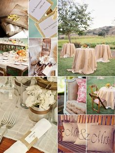 Tin can vases and burlap table cloths