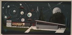 El Gato Gomez Painting Retro 1950's Sci Fi Pulp Outer Space Robots Flying Saucer | eBay