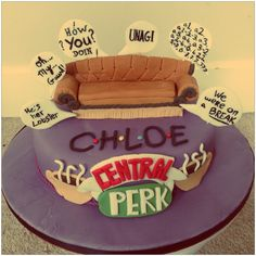 Friends tv show cake with couch and quotes made for my Sisters Birthday. By Laura's Cake Corner.