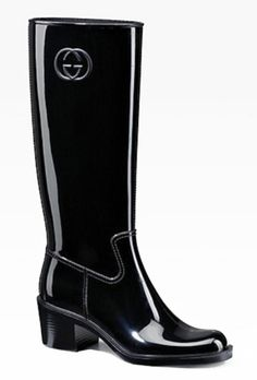 Gucci Black Devendra Rubber Rainboots Knee Boots