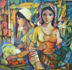 Fruit Vendors - Roger San Miguel paintings for sale - ArtFreaks.com