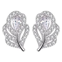 FC 925 Silver Cubic Zirconia CZ Wedding Bridal Peacock Feather Studs Earrings