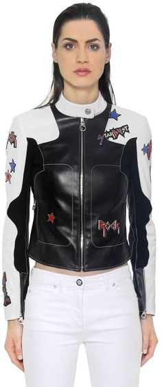 Stars Patches Leather Biker Jacket