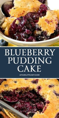 This Blueberry Pudding Cake is the quintessential summer dessert! Grab a spoon and dig in – a luscious, warm blueberry sauce is hidden under a perfectly sweet lemon-almond cake. Blueberry Pudding Cake, Blueberry Desserts, Blueberry Sauce, Pudding Desserts, Pudding Recipes, Dessert Recipes, Blueberry Cobbler, Cake Recipes, Blueberry Loaf