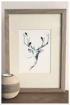 Deer  Scandinavian Style Illustrated Mini by ARTbyMARIAMALLOL, $22.00