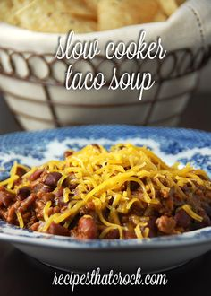 Slow Cooker Taco Soup! One of our favorite #CrockPot soups