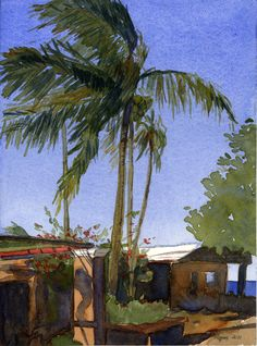 The Coconut Tree Bryon Rogers 2011 Watercolor on paper 8 3/16 x 11 inches  No margins, no matte, ships in an archival sleeve with backing.