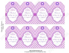 Instant Download DIY  Purple Princess Birthday Party  PRINTABLE Hanging Thank You Tags crown lavender purple