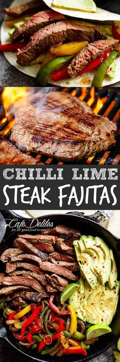 Chili Lime Steak Fajitas are so juicy and full of incredible flavours! The secret lies in our incredibly popular marinade! Summer grilling AND searing options! Juicy Steak Fajitas are a reader favourite, made time and time Meat Recipes, Mexican Food Recipes, Dinner Recipes, Cooking Recipes, Healthy Recipes, Brunch Recipes, Recipies, Beef Dishes, Food Dishes