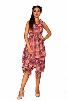 ad37242a57e0 avantgarde chic tartan φόρεμα Vivien 2 coral