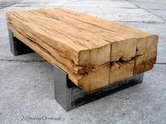 Amazing old oak table.Old, reclaimed oak beams turned into coffee table. Available here http://zestaregodrewna.pl/produkt/stolik-stary-dab/