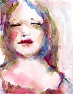 Romantic Womans Face Summer Dream Original by CorinneGallaFineArt, $90.00