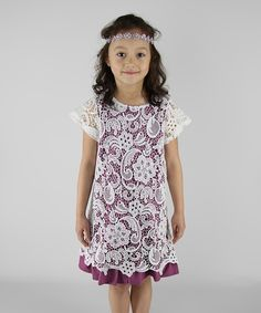Look at this White & Plum Lace Overlay Dress - Infant, Toddler & Girls on #zulily today!