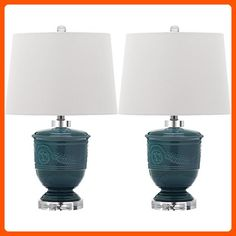 Safavieh Lighting Collection Shoal Blue 23.5-inch Table Lamp (Set of 2) - Improve your home (*Amazon Partner-Link)