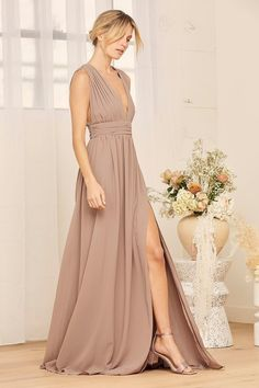 100+ Dresses Perfect for Wedding Guests   The Perfect Palette Bridesmaid Dresses, Prom Dresses, Wedding Dresses, Wedding Outfits, Taupe Maxi Dress, Creative Wedding Inspiration, Draped Fabric, Bridal Beauty, Boho Wedding