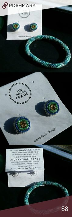Fair Trade NWT Beaded Earring and Bracelet Set Aid Through Trade Jewelry Earrings