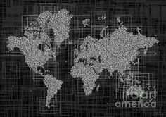 World Map Rettangoli In Black And White by elevencorners. World map wall print decor. #elevencorners #maprettangoli
