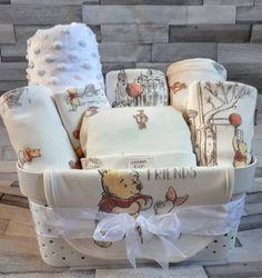 Baby Gift Basket Hamper Unisex Cream White Winnie the Pooh Etsy Baby Gift Hampers, Baby Hamper, Baby Baskets, Raffle Baskets, Baby Shower Gift Basket, Baby Shower Gifts, Basket Gift, Shower Bebe, Diy Baby Gifts