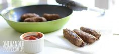 HOMEMADE SAUSAGES: Sausages are a crowd pleaser at many parties. If you have time it's a lovely idea to make a batch of homemade sausages without the added salt and preservatives, for all the little people at the party to enjoy #onehandedcooks