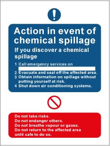 Warning safety. Chemical hazard signs. Chemical spill action notice. Size 300 x 200mm. Self adhesive vinyl. Code MS1880.