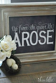 Image of Up From the Grave Chalkboard Print Chalkboard Print, Chalkboard Lettering, Chalkboard Designs, Chalkboard Ideas, Chalkboard Sayings, Blackboard Art, Kitchen Chalkboard, Chalk Ideas, Easter Projects