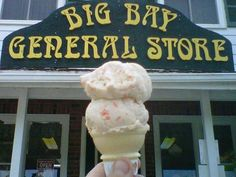 Homemade ice-cream at Big Bay General Store, Wiarton, Ontario.  We would have our ice-cream, and then go for a swim in the lake.