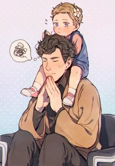 """sherlollian2016m:  """" simpleanddestructivechemistry:  """" weirdrama:  """"This is the cutest thing ever …   """"  oh, my heart! ❤️  """"  Sherlock: Need to focus  Little Rosie:*suddenly climb on his shoulders*  Sherlock: I can still focus  Baby Rosie:*starts to play..."""
