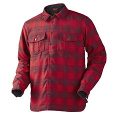Hunting shirt jacket in a blend of polyester and wool with PrimaLoft insulation. Features include slits at sides and CORDURAreinforcements at elbows, cuffs and collar. Hunting Shirts, Country Outfits, Red Plaid, Shirt Jacket, Men Casual, Blouses, Sports, Mens Tops, Jackets