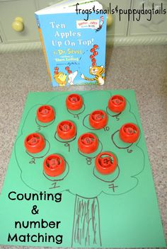 Frogs and Snails and Puppy Dog Tail (FSPDT): Ten Apples Up On Top- counting & number matching activity